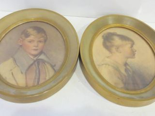 PAIR OF OVAl FRAMED PORTRAITS   11 X 13