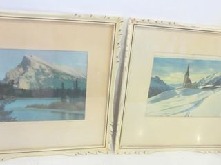 PAIR OF FRAMED PRINTS   ONE HAS MOVED INSIDE FRAME