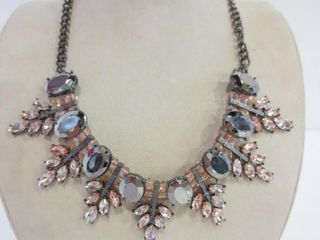 PINK AND GRAY RHINESTONE NECKlACE   18