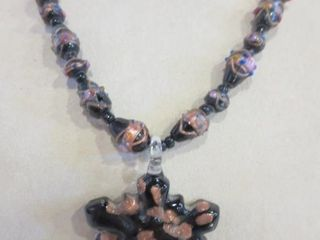 VENETIAN GlASS BEAD NECKlACE WITH GlASS STAR