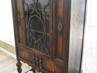 Wooden China Cabinet with Glass Door and Dome Top
