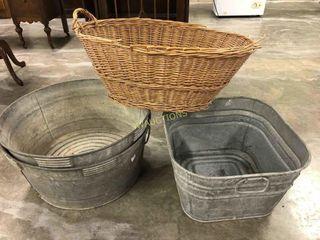 Wash Tubs and Basket