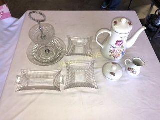 Serving Dishes  Tea Pot  Cream and Sugar