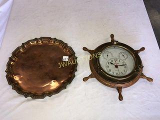 Copper Tray  ship Wheel Clock