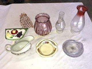 Oil lamp Chimneys  Gravy Boat  Dishes