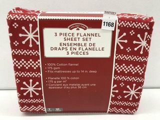 HOlIDAY TIME 3 PIECE FlANNEl SHEET SET