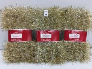 3 PIECES HOlIDAY TIME TINSEl GARlAND SNOW CHAMP