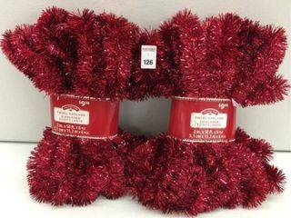 6 PCS HOlIDAY TIME TINSEl GARlAND RED