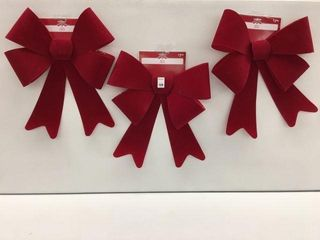 3 PIECES HOlIDAY TIME BOW RED