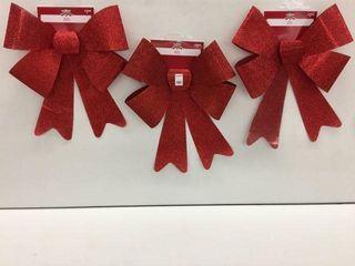3 PIECES HOlIDAY TIME BOW RED GlITTERS