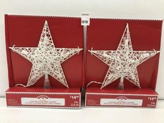 2PCS HOlIDAY TIME lIGHTED STAR TREE TOPPER