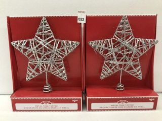 2PCS HOlIDAY TIME METAl TREE TOPPER