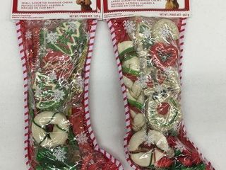 2 PIECES HOlIDAY TIME SMAll ASSORTED RAWHIDE CHEWS