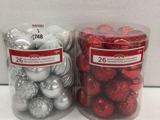 ASSORTED HOlIDAY TIME SHATTERPROOF ORNAMENTS