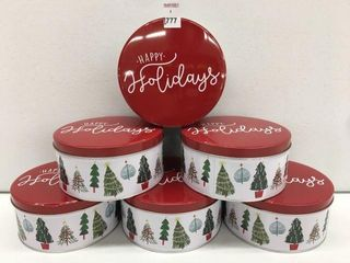 6 PCS CHRISTMAS ROUND TIN CHRISTMAS TREE DESIGN