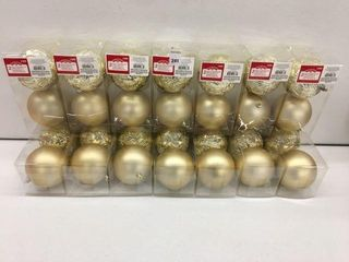 14 PIECES HOlIDAY TIME SHATTERPROOF ORNAMENTS GOlD