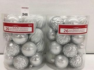 2 PCS HOlIDAY TIME SHATTERPROOF ORNAMENTS SIlVER