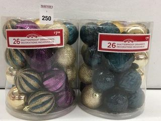 2 PIECES HOlIDAY TIME SHATTERPROOF ORNAMENTS