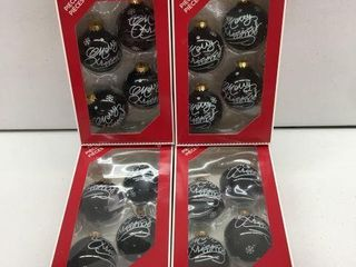 4 PIECES HOlIDAY TIME GlASS ORNAMENTS BlACK