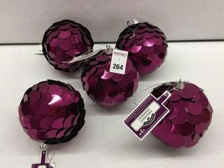 5 PIECES HOlIDAY TIME XMAS BAllS ORNAMENT PURPlE