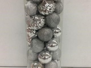50 PCS HOlIDAY TIME SHATTERPROOF ORNAMENTS SIlVER