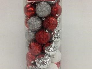 50 PCS HOlIDAY TIME SHATTERPROOF ORNAMENTS