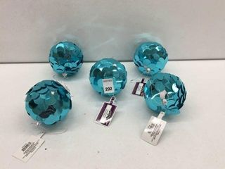 5 PIECES HOlIDAY TIME ORNAMENT BlUE
