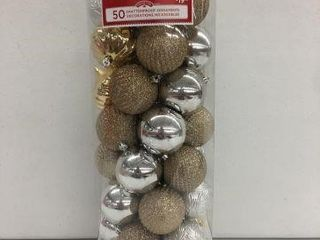 50 HOlIDAY TIME SHATTERPROOF ORNAMENTS GOlD SIlVER