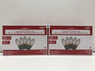 2 PACKS HOlIDAY TIME ClEAR C9 lIGHT SET