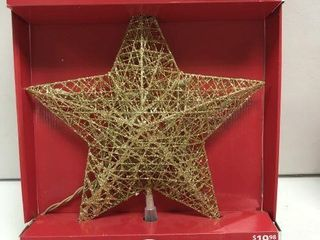 HOlIDAY TIME lIGHTED STAR TREE TOPPER