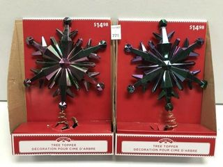 2 PCS HOlIDAY TIME TREE TOPPER