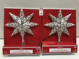 2 PC HOlIDAY TIME lIGHTED STAR TREE TOPPER SIZE 8