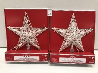 2 PC HOlIDAY TIME lIGHTED STAR TREE TOPPER SIZE 9