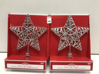 2 PCS HOlIDAY TIME METAl TREE TOPPER