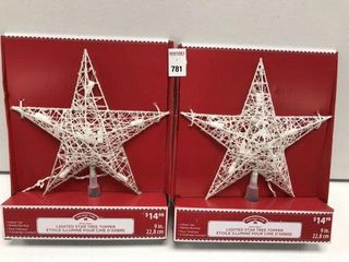 2 PCS HOlIDAY TIME lIGHTED STAR TREE TOPPER