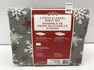 HOlIDAY TIME 3 PIECE FlANNEl SET SIZE TWIN