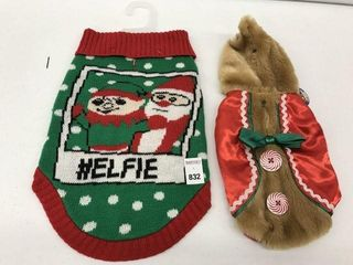 ASSORTED PMP PET CHRISTMAS COSTUME SIZE MED AND XS