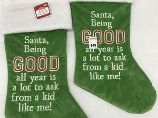 2PCS HOlIDAY TIME EMROIDERED WORD STOCKING