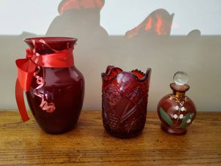 lot of Ruby Red Carnival Pitcher  Ruby Red Vase and Countless Collection Vintage Perfume Bottle