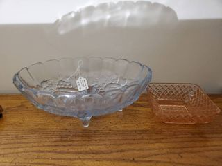 Blue Depression Glass Footed Dish and Pink Depression Glass Dish