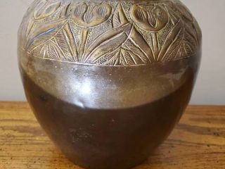 Made in India Brass Vase with Floral Design