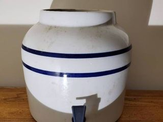 White and Blue Ceramic Pitcher with Spout