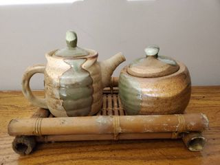 Earthware Cream and Sugar Dishes on Bamboo Tray