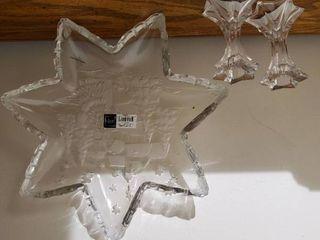 Mikasa Crystal Christmas Serving Tray and Crystal Candle Sticks