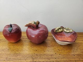 lot of 3 Apple Decor  Candle  Jewelry Tray and Centerpiece