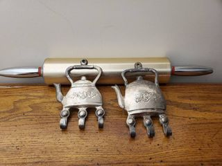 lot of 3 Metal Kitchen Decor  2 Wall Hanging Teapots with Hooks and Rolling Pin
