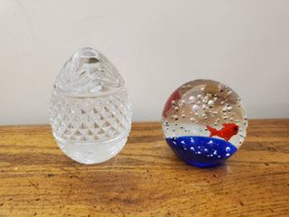 lot of 2 Paperweight  Egg and Bubbly Fish