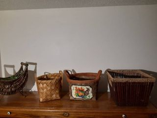 lot of Decorative Woven Wicker Baskets
