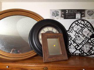 lot of Modern Home Decor   Family Photo Frames  Wall Clock  2 Decorative Wall Mirrors