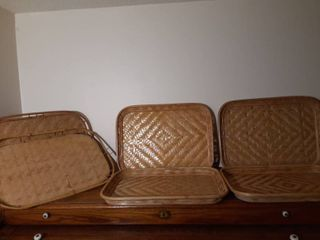 lot of 6 Woven Wicker Serving Trays
